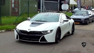 matte white bmw i8 coupe drag racing vs other supercars