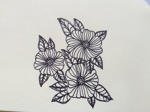 วาดรูปดอกไม้ง่ายๆ คลายเครียดกันเถอะ #1