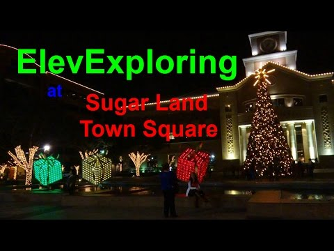 A tour of Sugar Land Town Square with Christmas Lights and elevators! :D