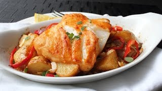 Roasted Bass with Warm Potato Salad Recipe