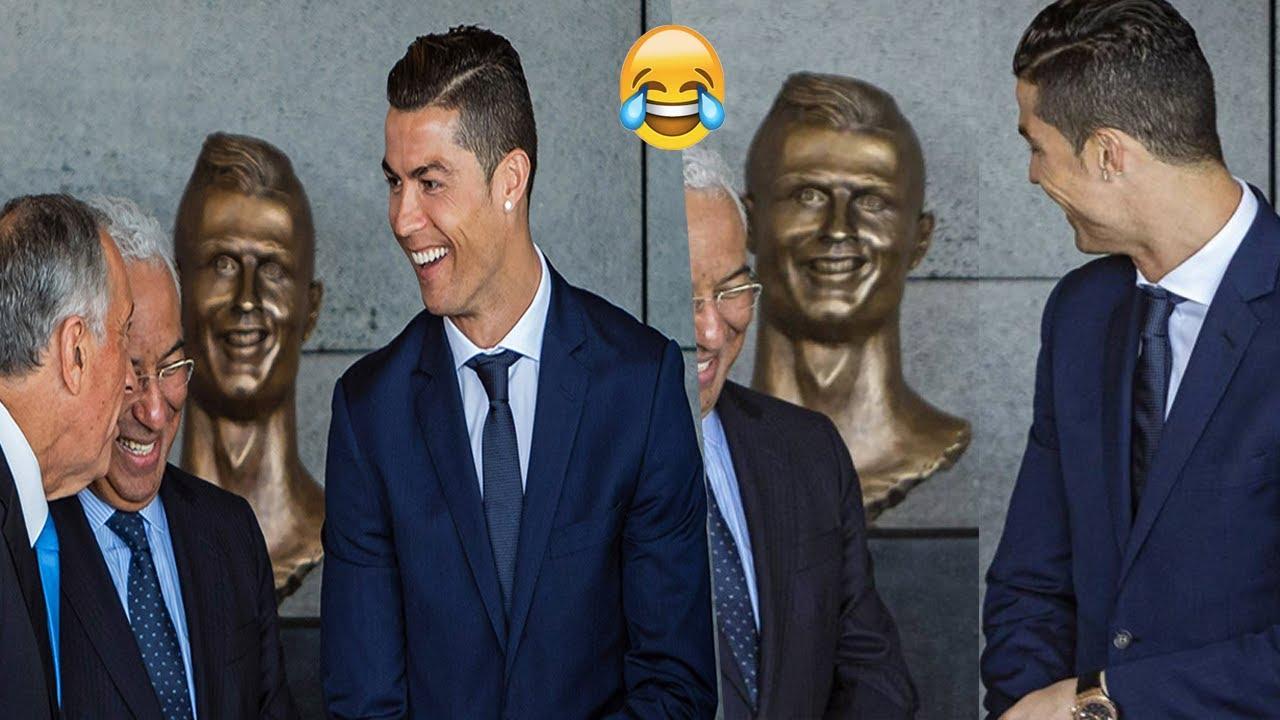 شاهد ردة فعل كريستيانو رونالدو عندما شاهد تمثاله الشهير