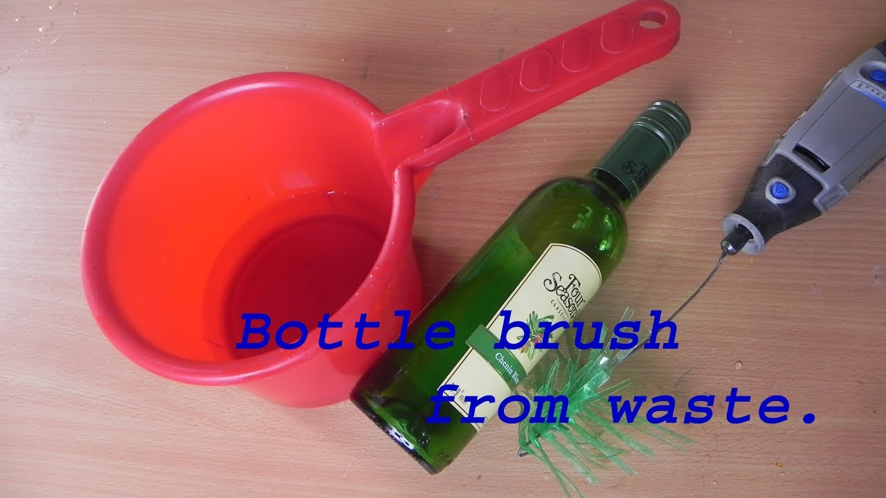 How to make a simple  bottle brush from plastic bottle, diy.
