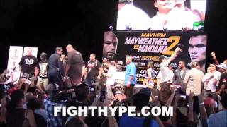 FLOYD MAYWEATHER AND MARCOS MAIDANA SCUFFLE AT SAN ANTONIO PRESS CONFERENCE
