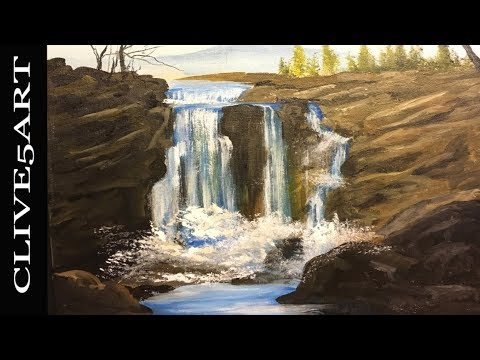 Waterfall rocks Step by Step Acrylic Painting on Canvas for Beginners