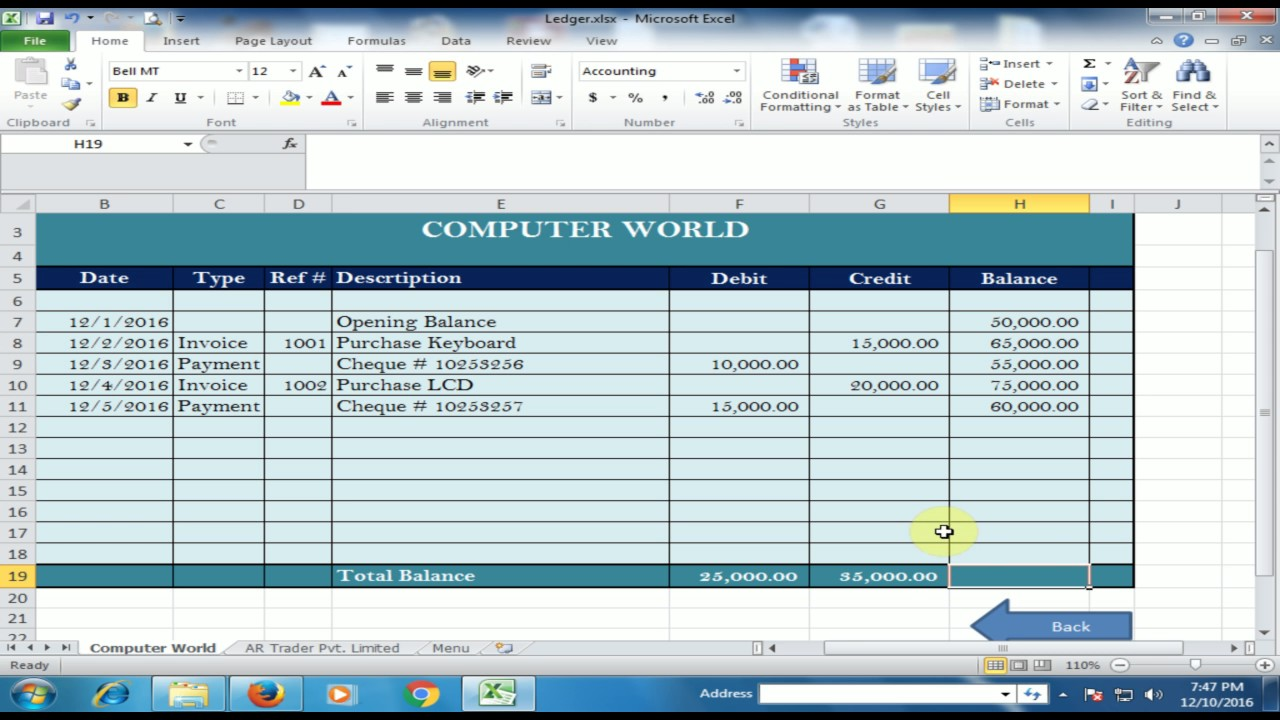 supplier vendor ledger in microsoft excel ledger part 1 urdu