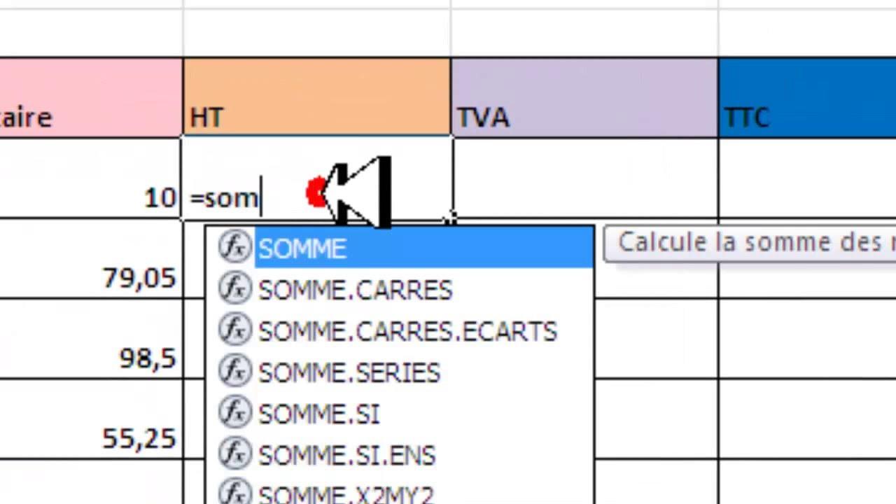 Calculer Ht Tva Ttc Avec La Fonction Somme Sous Excel 2010 Youtube
