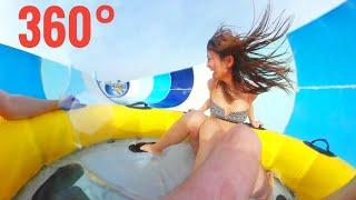 360° Best Waterslides Girl Crazy Water Slide waterpark Samsung Gear 360 VR Box Google Cardboard 4K
