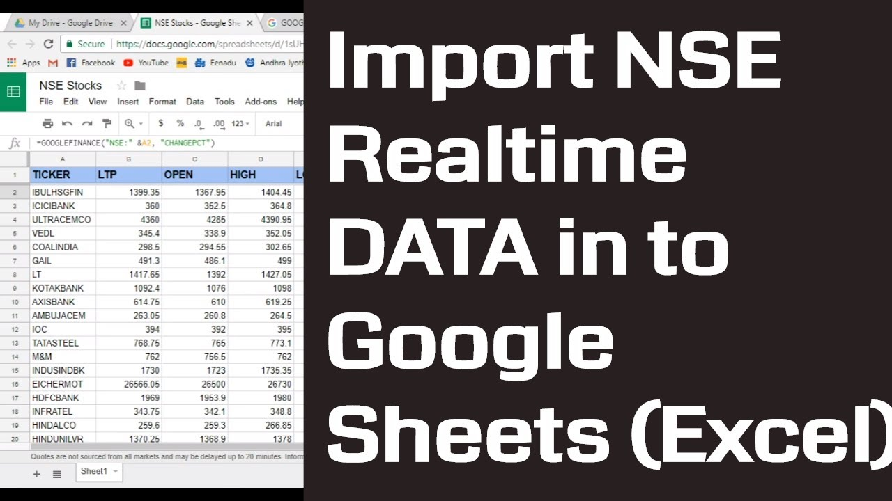 How to import NSE data in to Google sheets (Excel) and How to make ...