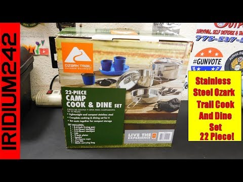 Stainless Steel Ozark Trail 22 Piece Camp Cook And Dine Set