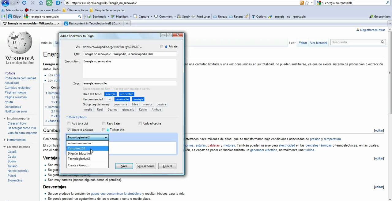 406a908fc7ba Uso de los botones de la barra de herramientas de Diigo Bookmark, Comment,  Highlight