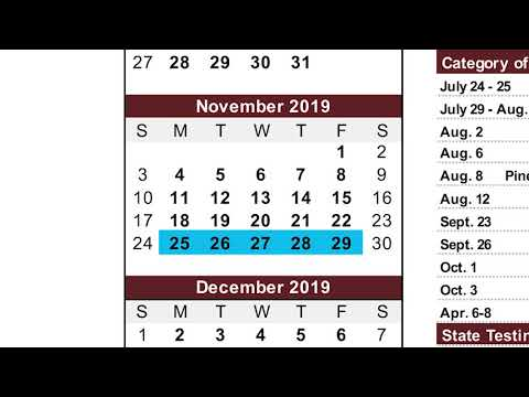 2019 2020 Academic Calendar Overview