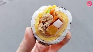 부산 광안시장 | 박고지김밥 Bakgoji Kimbap | 한국 길거리음식 | Korean Street Food | Gwang-An Market, Busan, Korea