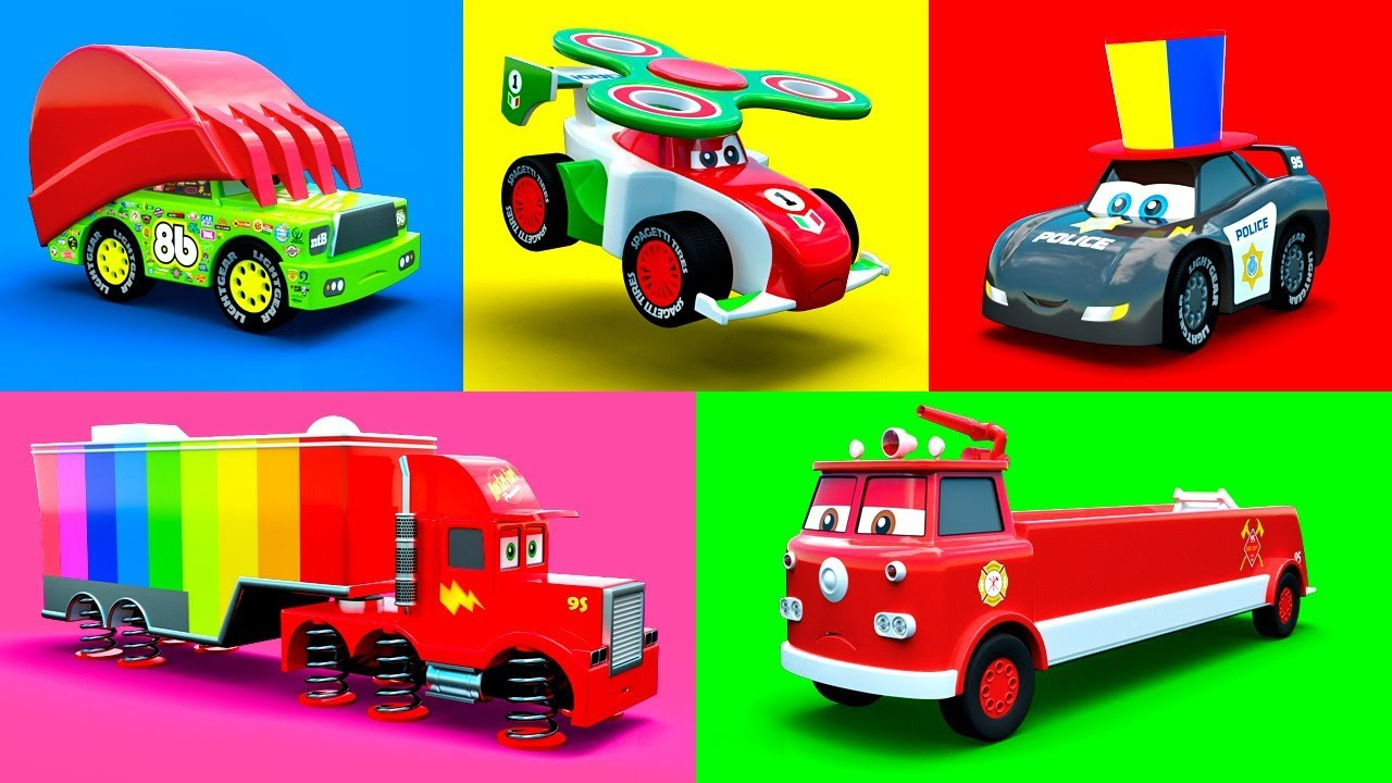 Cars Cartoons McQueen, Mack, Fire Truck, Excavator, Police Car, Garbage Truck & more Color Vehic