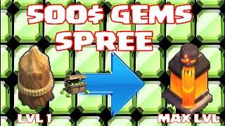 clash of clans 500 gem spree gem to max lvl 11 walls insane upgrades
