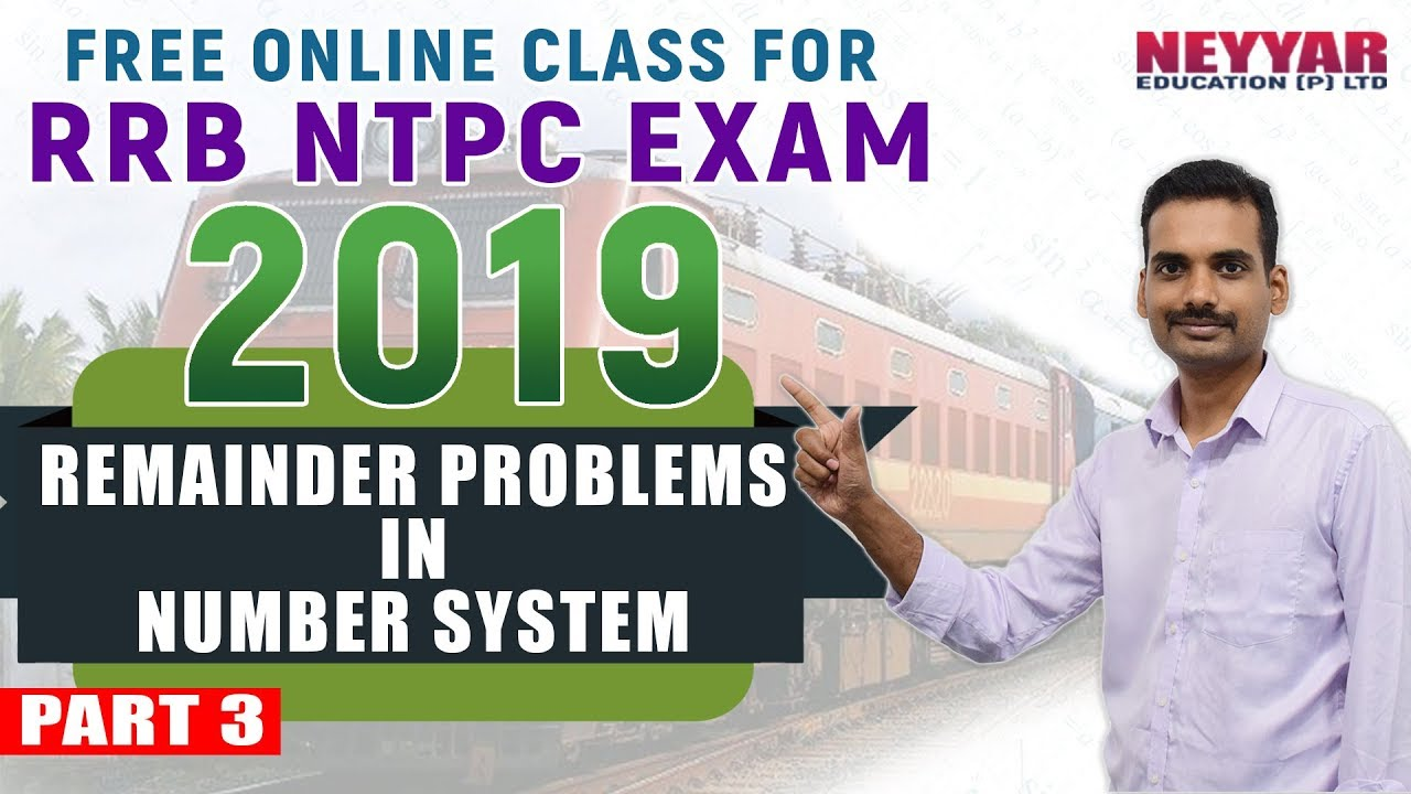 Free RRB- NTPC Exam Online Coaching | Maths Remainder Problems in Number  System | PART 3