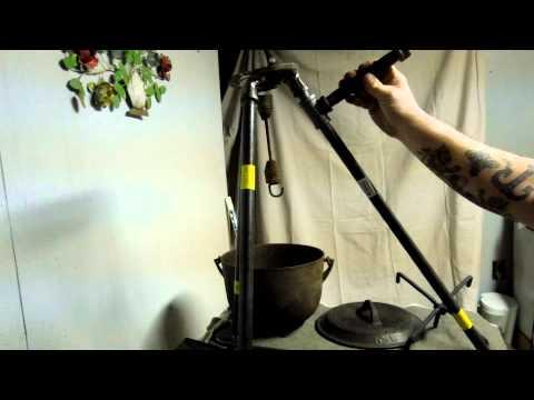 handmade semi portable metal camp fire tripod cooking equipment