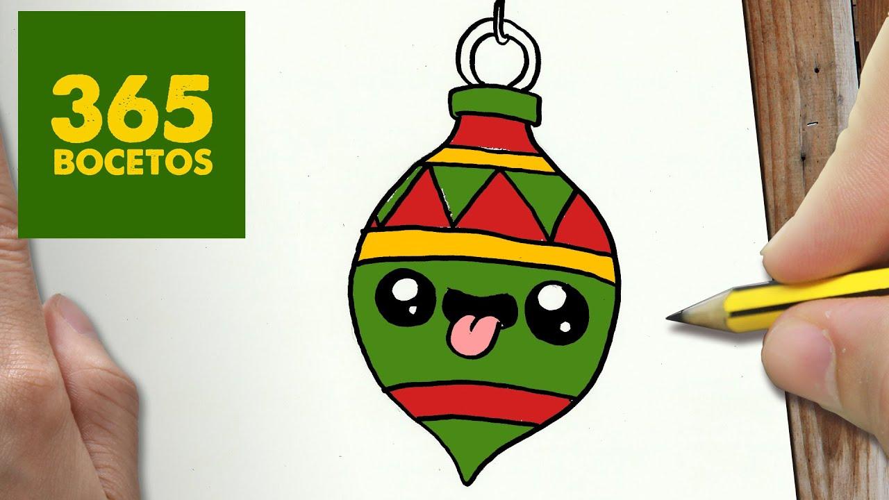 COMO DIBUJAR UN ADORNO PARA NAVIDAD PASO A PASO Dibujos kawaii navideños , How to draw a Ornament , YouTube