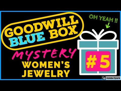 GOODWILL BLUEBOX JEWELRY MYSTERY BOX UNBOXING   WOMEN'S JEWELRY BOX #5 REVEAL UNJARRING SILVER