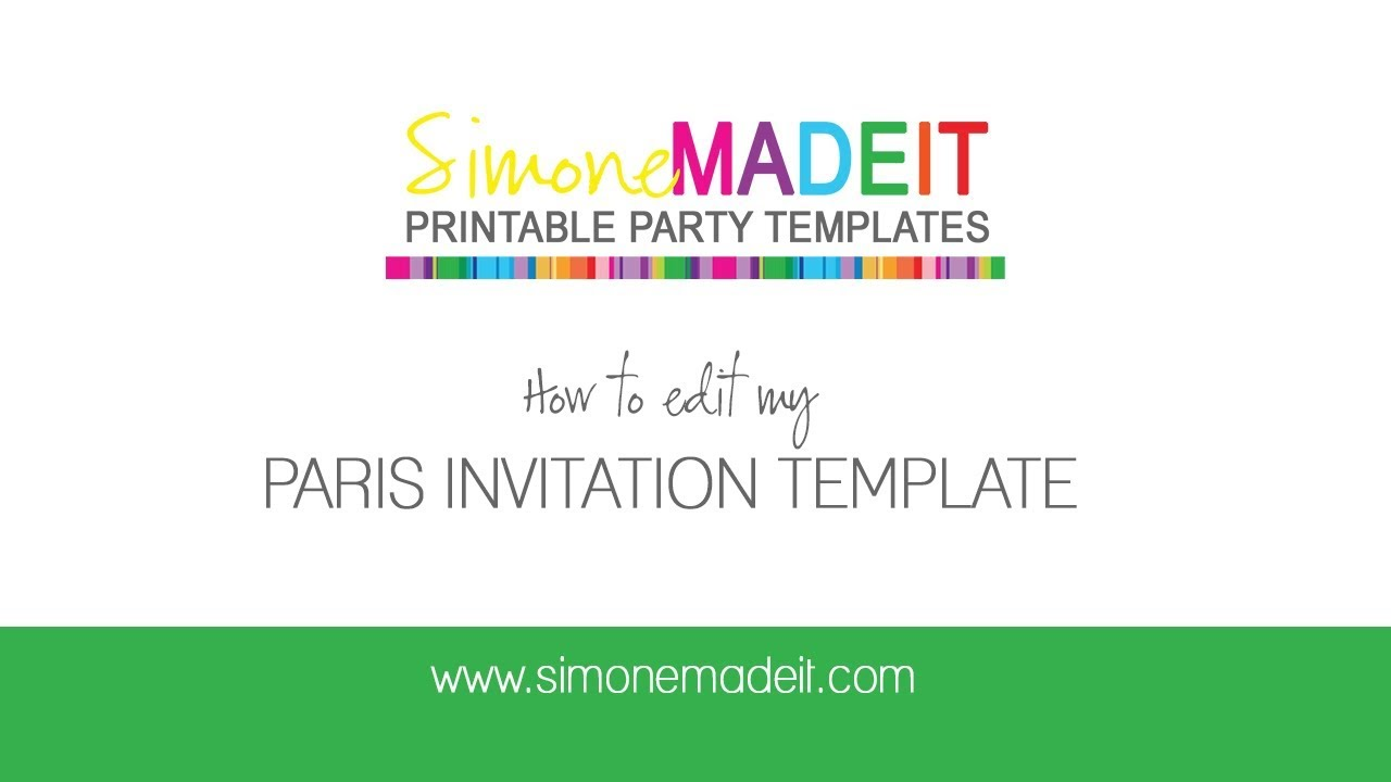 Editable Paris Invitations For Your Paris Birthday Party YouTube - Editable birthday invitations for adults