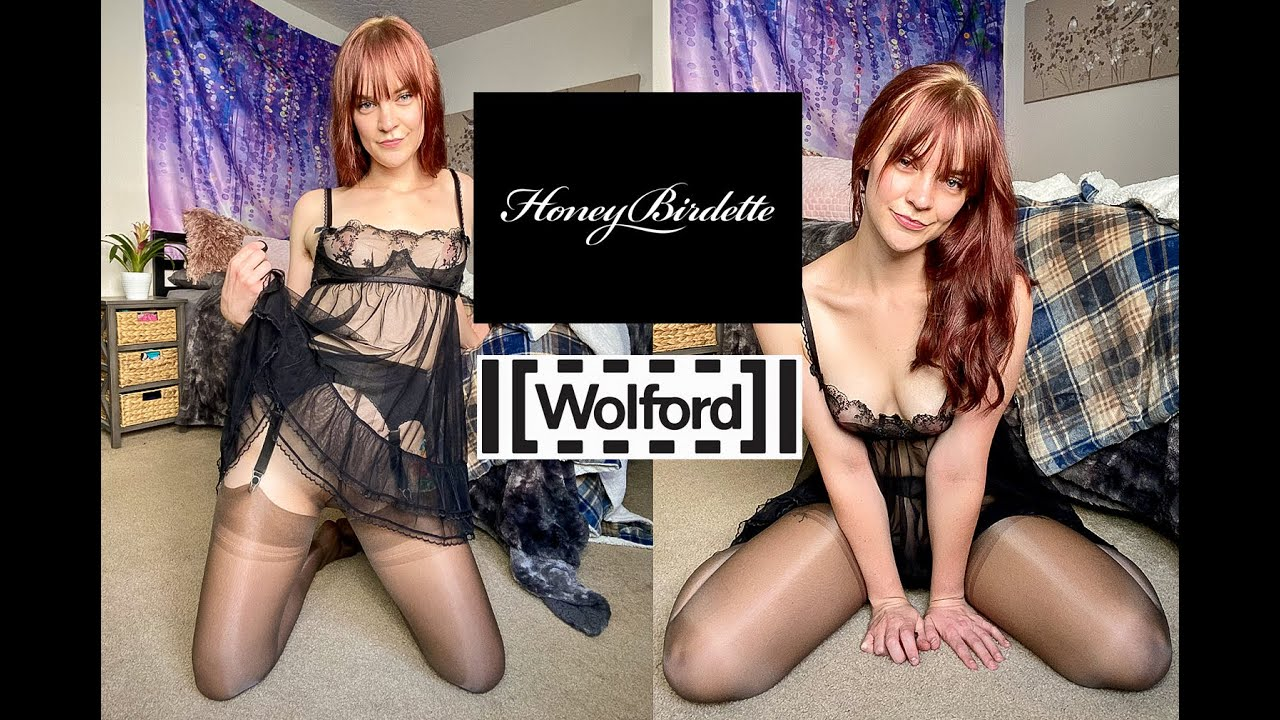 Honey Birdette LINGERIE + Wolford SEAMLESS PANTYHOSE try on and review