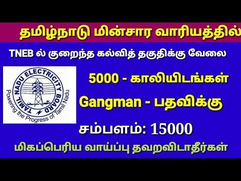 TNEB ல் வேலை வாய்ப்பு, 5000 - காலியிடங்கள் அறிவிப்பு