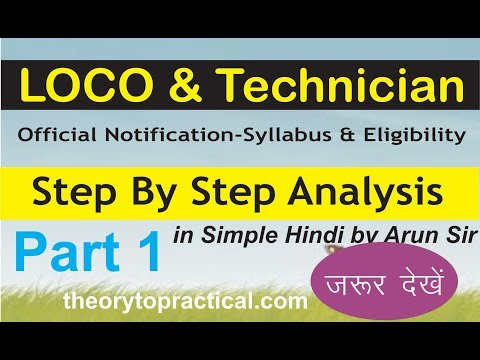RRB ALP & Technician official notification step by Step Analysis by Arun sir ,t2p Part-1