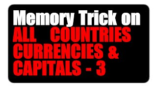 GK Tricks | Trick To Remember Countries and their Currencies  | Part - 3