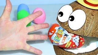 Песенка про Пальчики Играем Поём и Учим цвета с Мистером Кокосом Цветные сюрпризы для детей