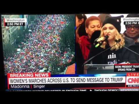 """Madonna says """"Fuck You"""" Live on News CNN 1/21/17"""