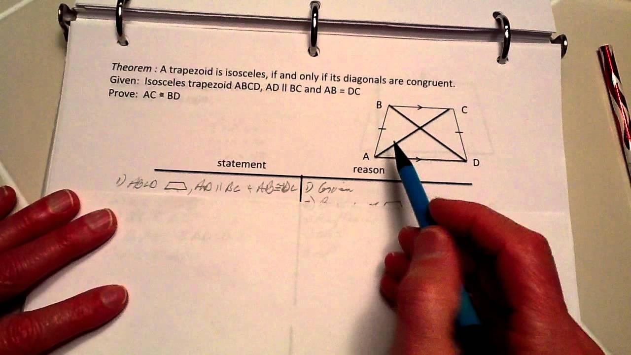 Prove Theorem -- Isosceles Trapezoid U0026 39 S Diagonals Are Congruent
