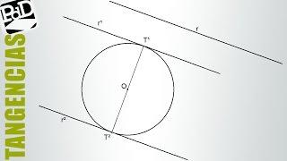 Rectas tangentes a una circunferencia y paralelas a una recta dada (Tangencias)