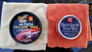 Meguiar's hi tech yellow paste wax #26 vs Griots garage best of show paste wax (water test)