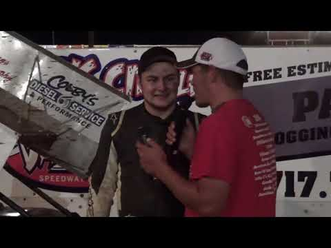 Hayden Miller in victory lane at Path Valley 6/23/18
