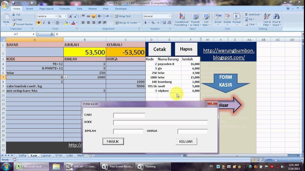 Program Kasir Dengan Excel