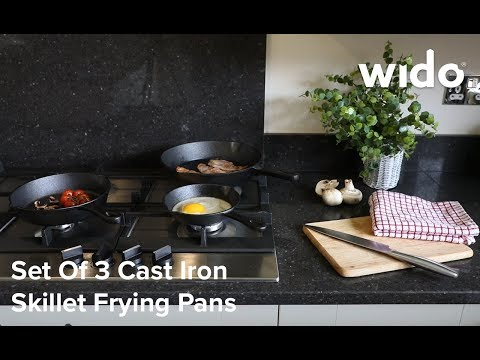 Wido Set of 3 Cast Iron Skillet Pans Product Video (CI3PAN)