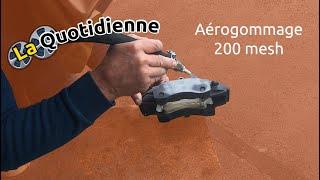 La quotidienne: Démonstration d'aérogommage d'un étrier au Garnet 200 mesh