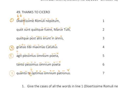 Catullus 49  (read Aloud In Meter And With Literal Translation)