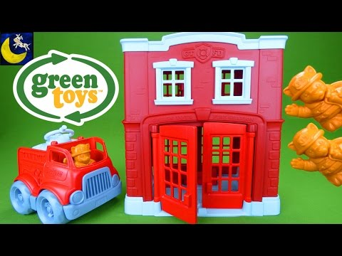 Green Toys Fire Station House and Fire Truck Playset Toys Made in the USA Firetruck Toys for Kids!