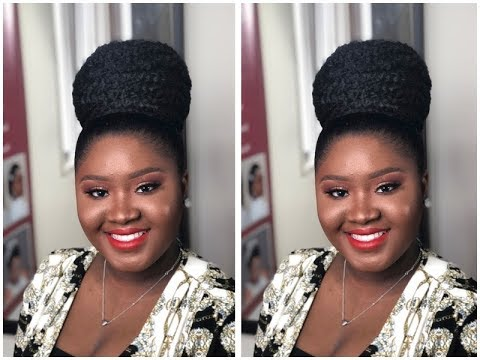 Tutorial High Bun Updo For Natural Hair Bride Natural Hairstyle