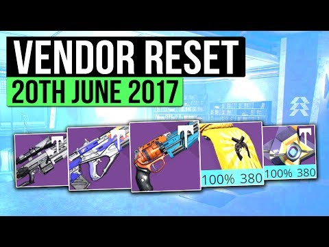 Destiny | WEEKLY VENDOR RESET! - Best Vendor Weapons & All 100% Stat Roll Armor! (20th June)