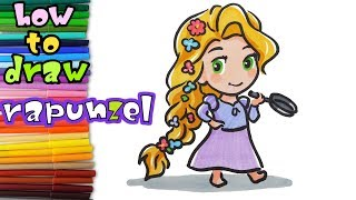 Tangled - How to Draw baby Rapunzel - learn to draw - drawing lessons - coloring pages