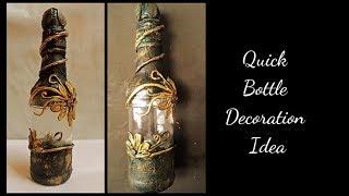 Wine Bottle Art / Antique Bottle / Altered Bottle
