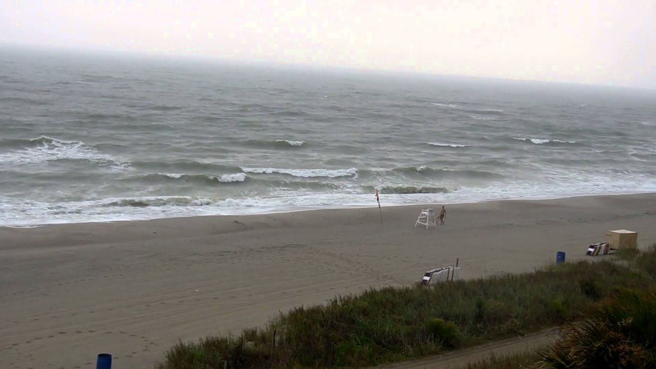 Myrtle Beach South Carolina Rough Ocean Waves Whitecaps During A Summer Rain Thunderstorm