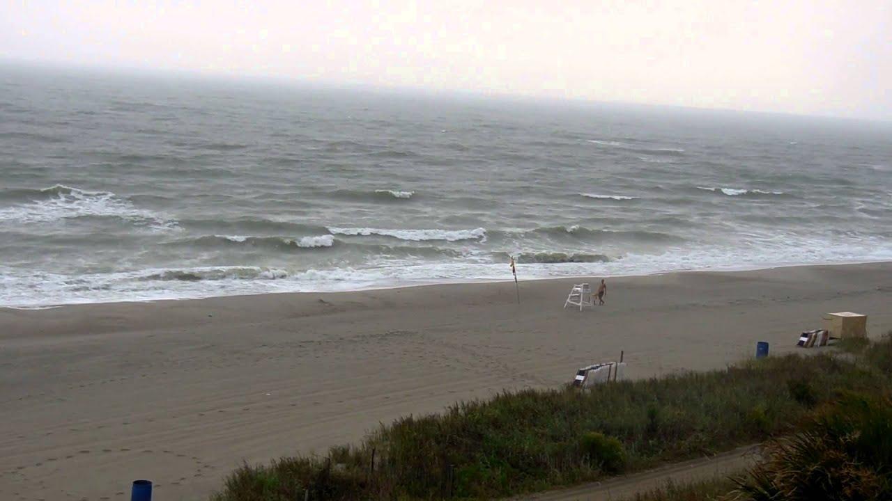 Myrtle Beach South Carolina Rough Ocean Waves Whitecaps During A Summer Rain Thunderstorm