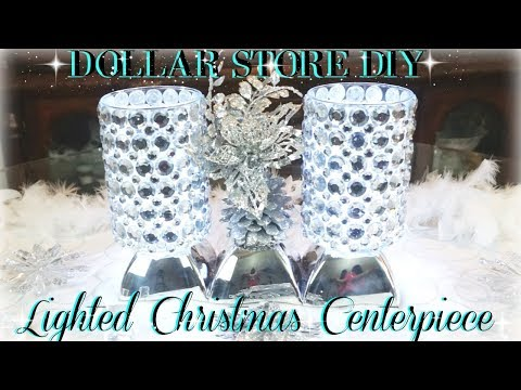 DOLLAR TREE LIGHTED CHRISTMAS CENTERPIECE | DIY DOLLAR STORE ROOM DECOR | DIY HOME DECOR CRAFT IDEAS