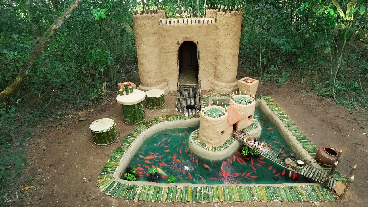 Build The Most Castle House underground And Puppies House Fish Pond Around