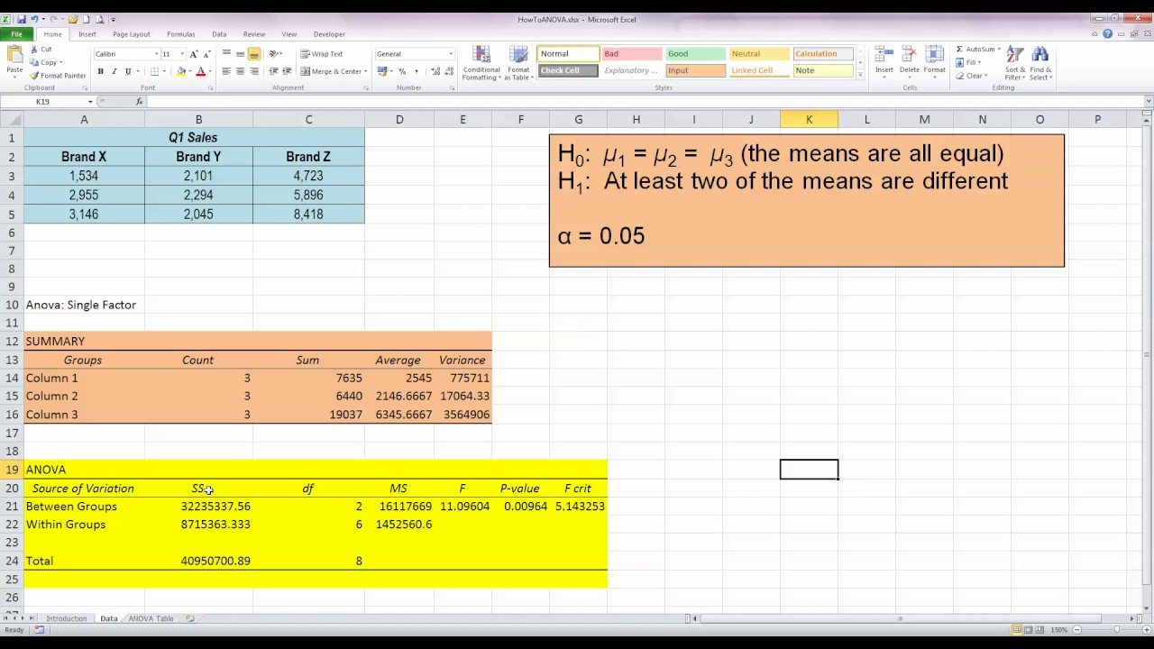 how to perform a one way anova test in excel 2010 youtube. Black Bedroom Furniture Sets. Home Design Ideas