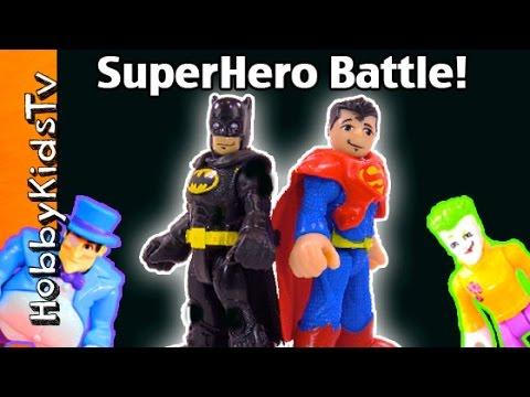 Imaginext SUPERHERO BATTLE Batman + Superman Fight! Villain Box Open Bad Guy Jail By HobbyKidsTV
