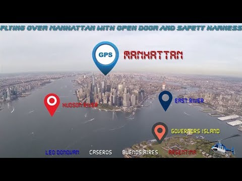 Flying over Manhattan with open door and safety harness