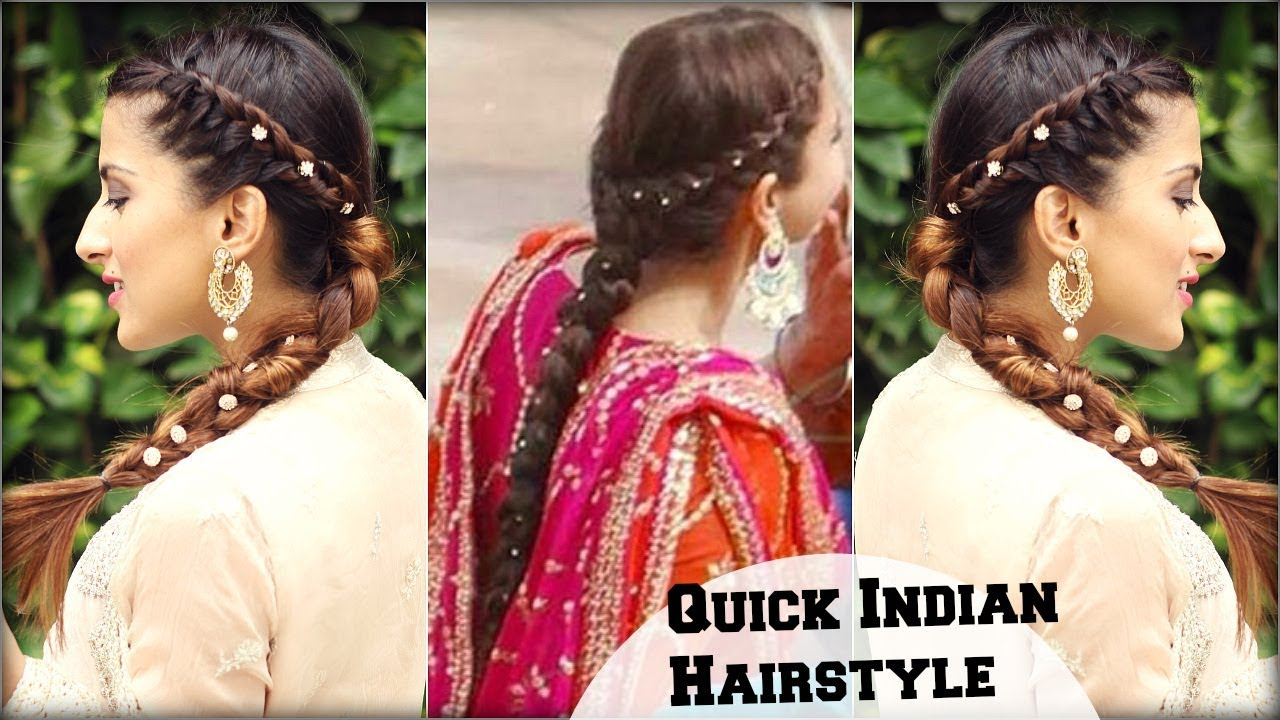 quick & effortless side braid indian hairstyle for medium to long hair/  anushka sharma inspired